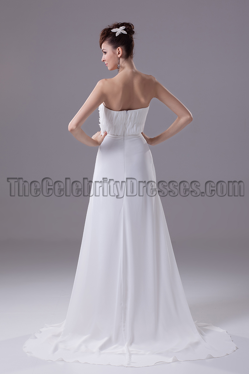 Sheath column strapless chiffon wedding dresses for Sheath chiffon wedding dresses