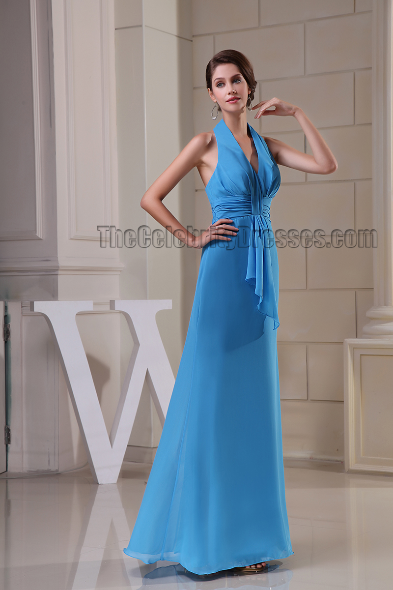 Sheath/Column Blue Halter Prom Gown Evening Formal Dresses ...