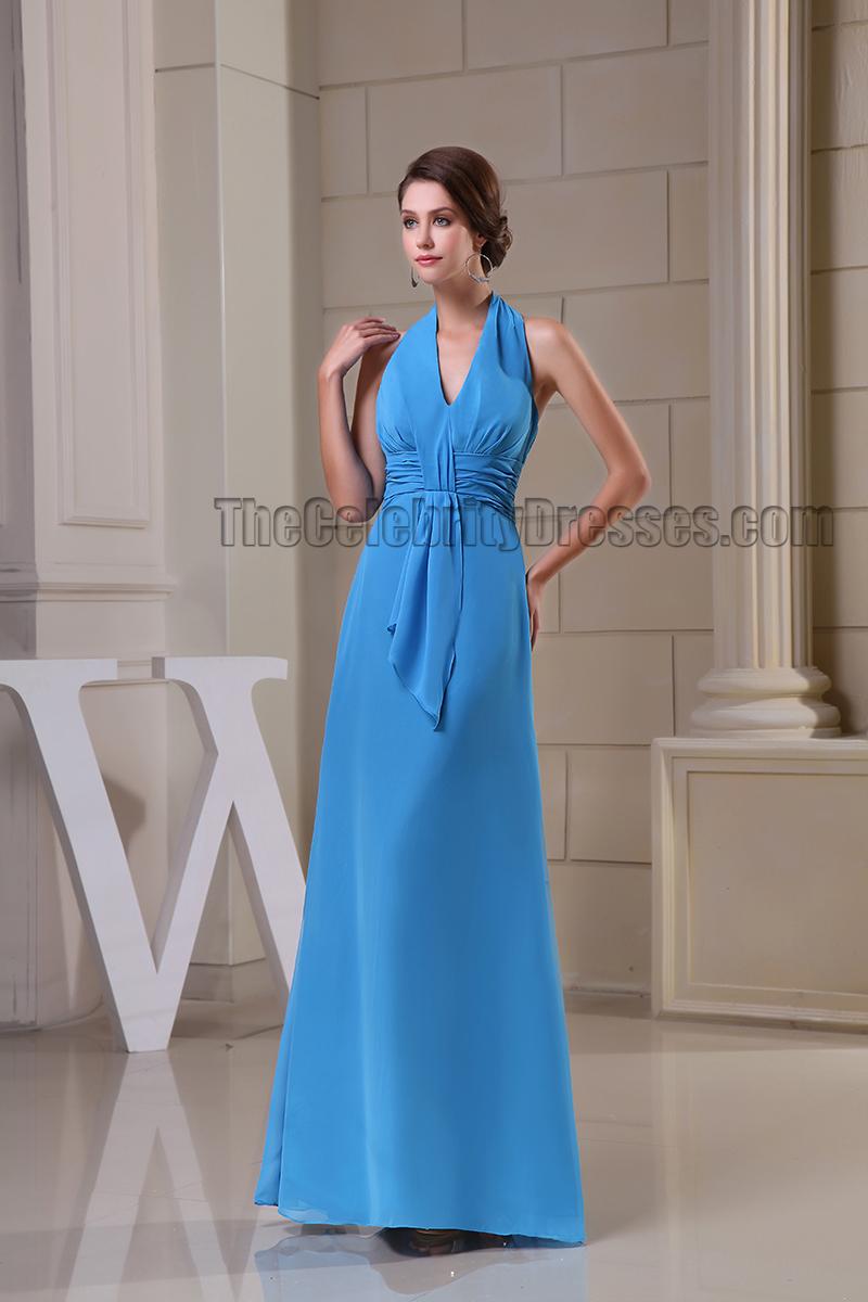 Sheath/Column Blue Halter Prom Gown Evening Formal Dresses ...
