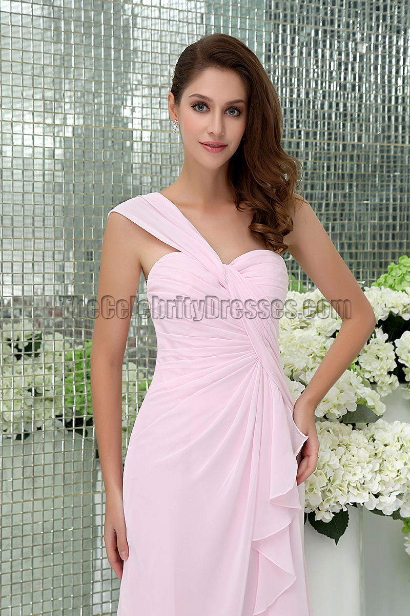 Sheath Column Pink One Shoulder Cocktail Short Bridesmaid Dresses