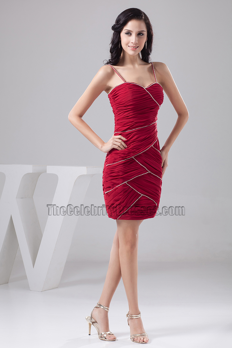 Short Burgundy Spaghetti Straps Party Cocktail Homecoming Dresses ...
