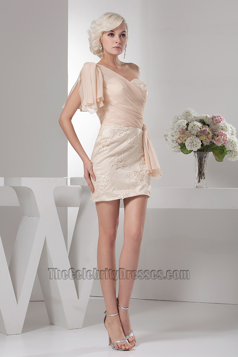 Short Champagne Chiffon One Shoulder Party Cocktail Dresses ...