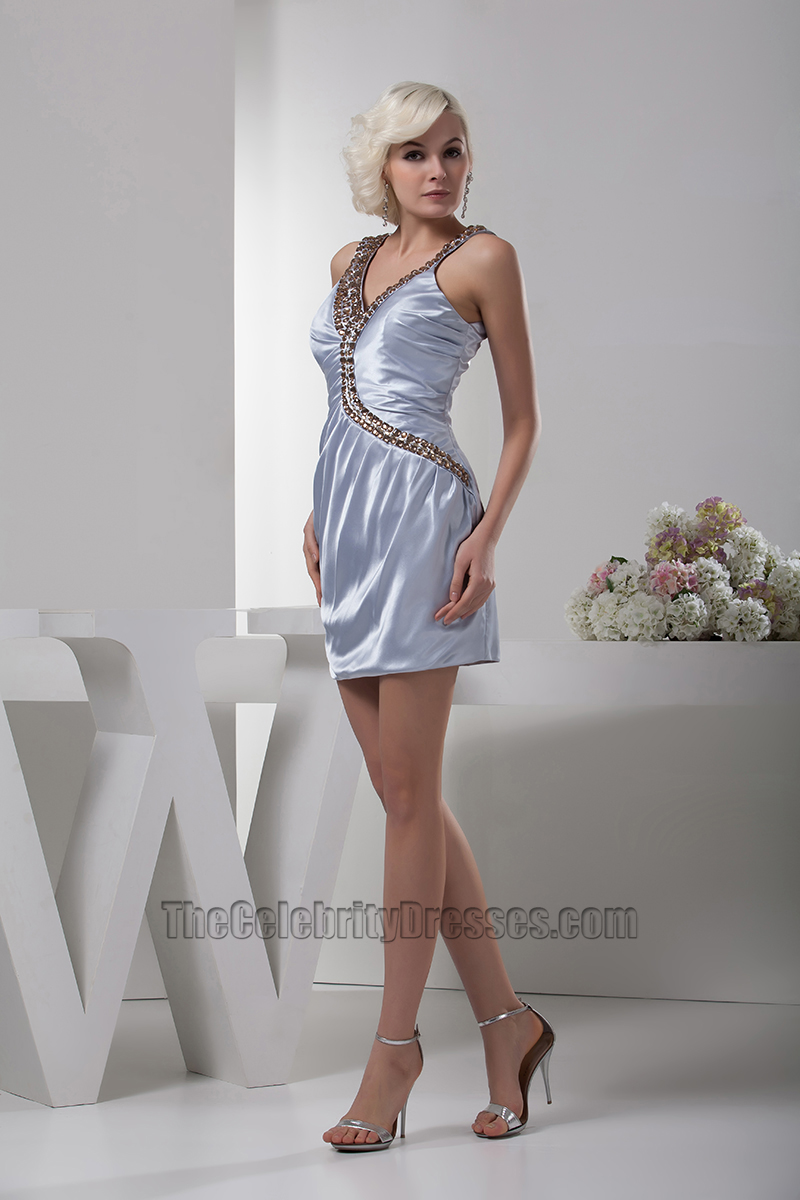 Short Mini Silver Beaded Party Cocktail Homecoming Dresses ...