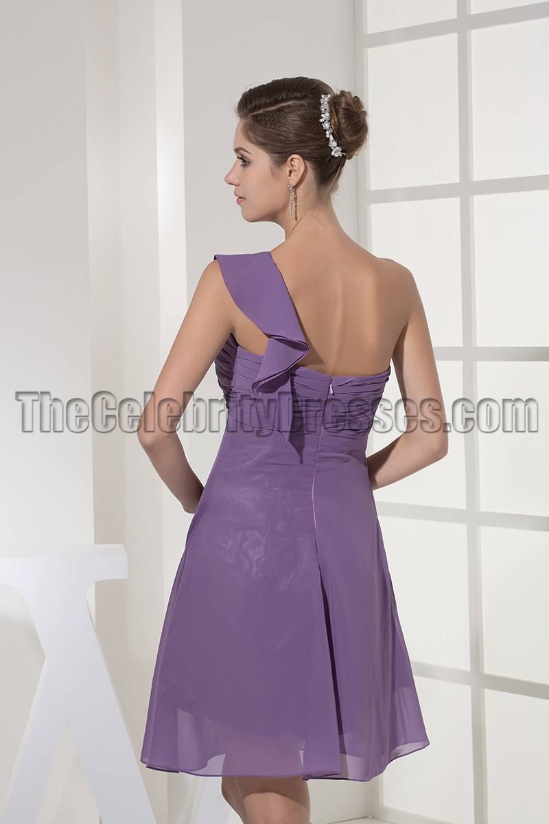 Short Purple One Shoulder Party Cocktail Graduation Dresses ...