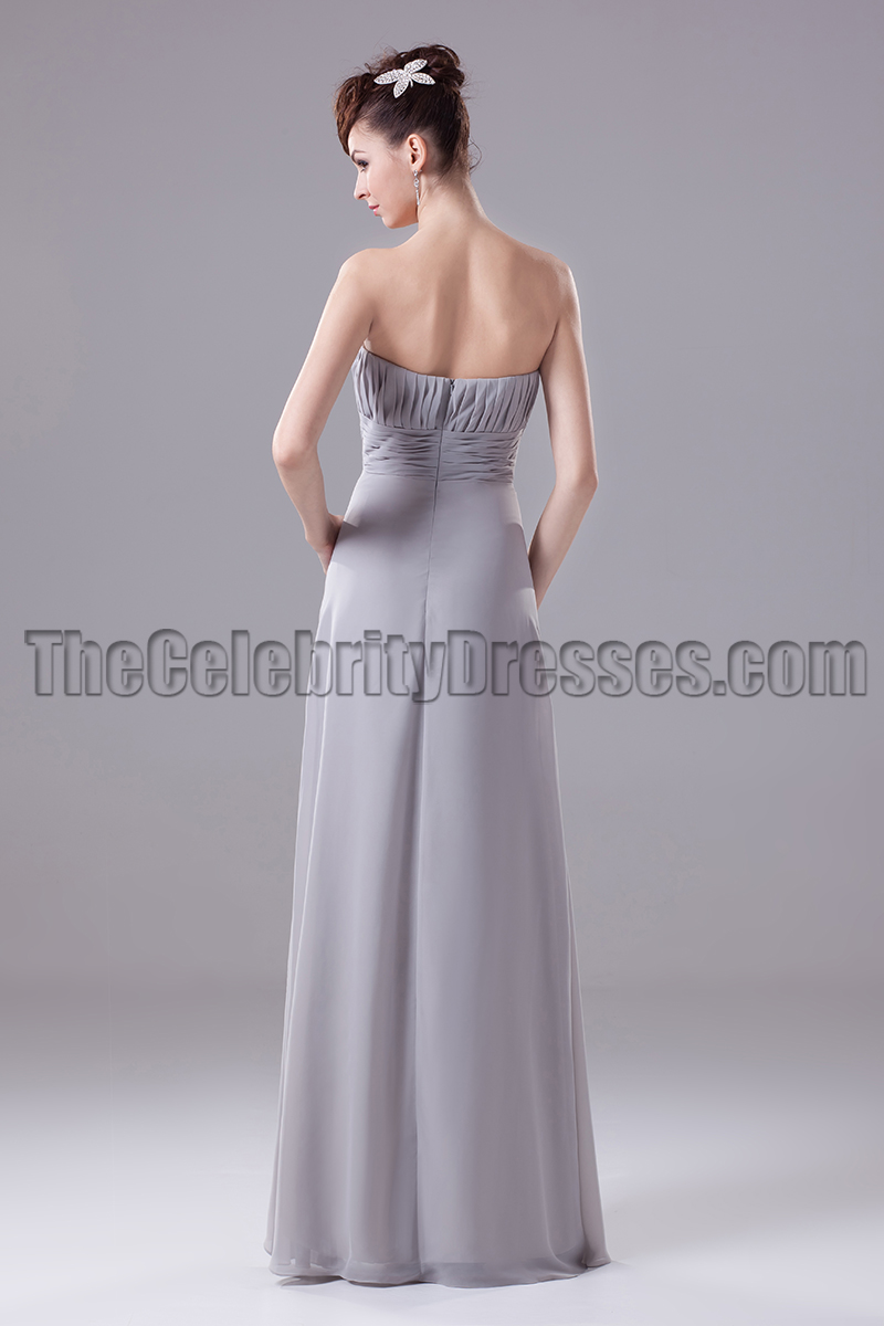 Silver chiffon a line formal dress prom gown thecelebritydresses ombrellifo Image collections
