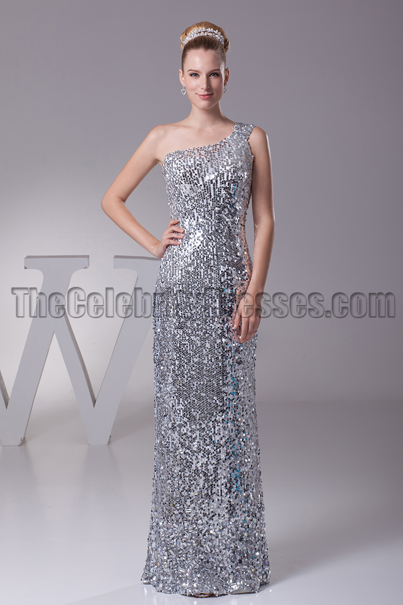 Silver Sequins One Shoulder Prom Gown Evening Dresses ...