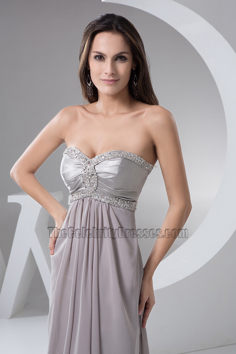 Silver Sweetheart Strapless Beaded Evening Dress Prom Gown ...