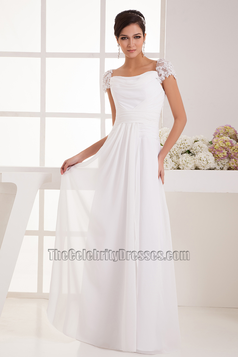 Simple Cap Sleeves Chiffon Floor Length Wedding Dress Bridal Gown Thecelebritydresses