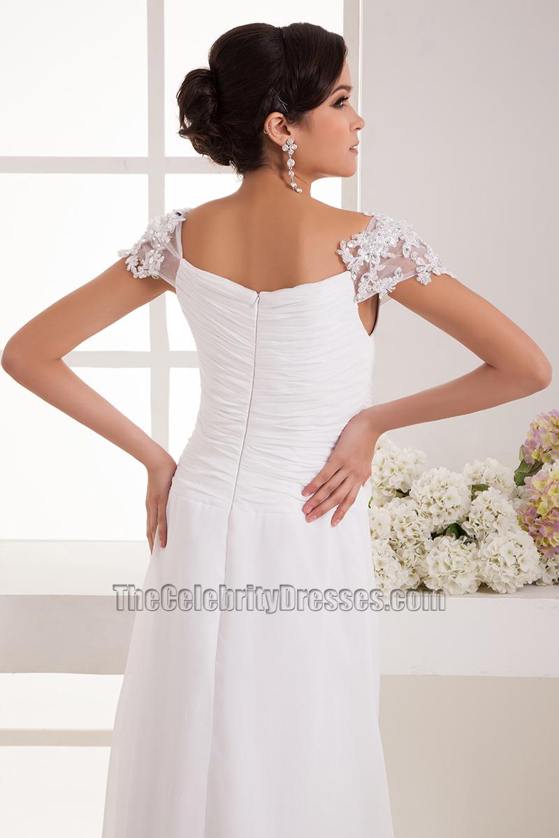 Simple Cap Sleeves Chiffon Floor Length Wedding Dress Bridal Gown ...