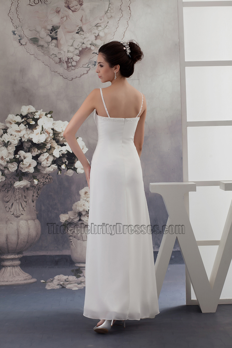 Simple Chiffon A Line Spaghetti Straps Informal Wedding Dresses    TheCelebrityDresses