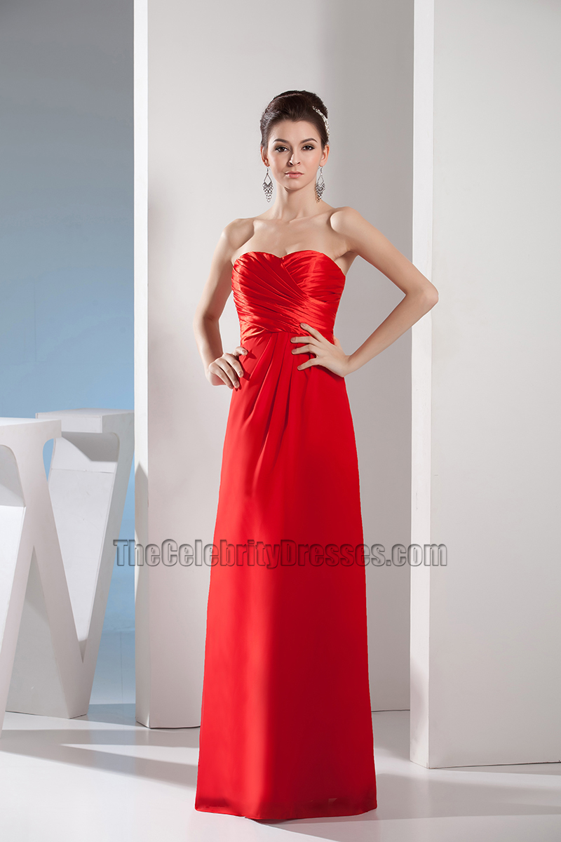 Simple Red Strapless Sweetheart Prom Gown Evening Dress ...