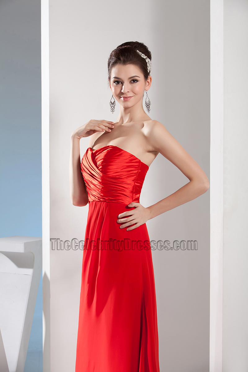 Simple Red Strapless Sweetheart Prom Gown Evening Dress - TheCelebrityDresses