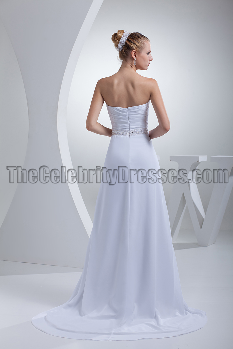 Simple Strapless A-Line Chiffon Wedding Dresses - TheCelebrityDresses