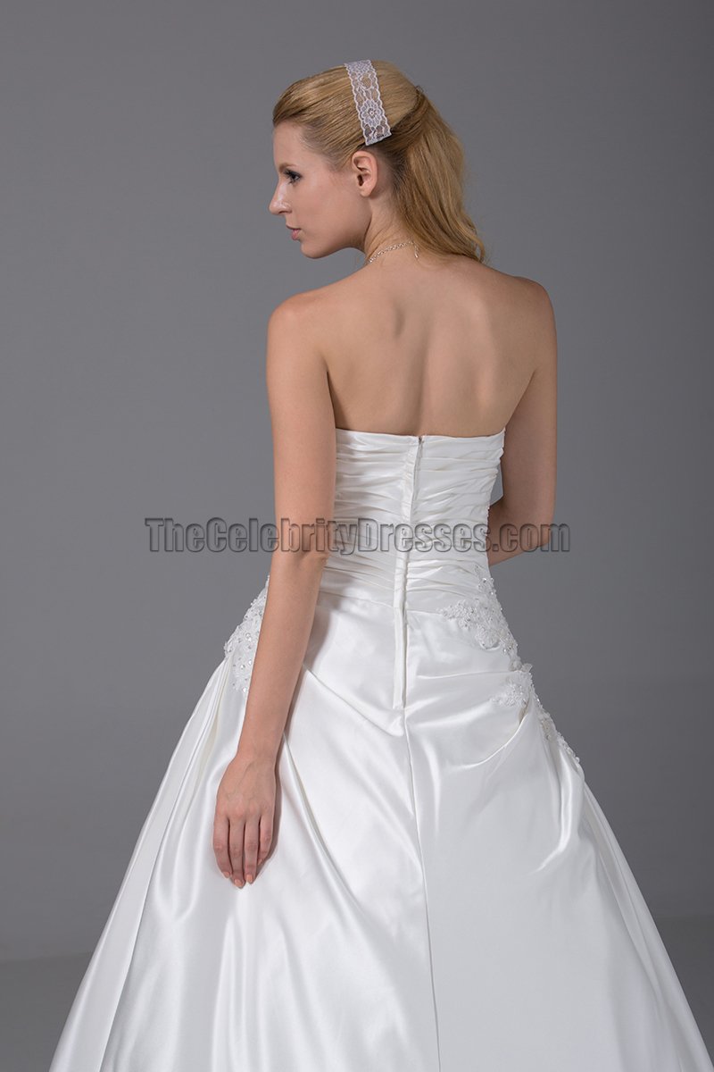 Simple strapless a line taffeta wedding dresses for Strapless taffeta wedding dress