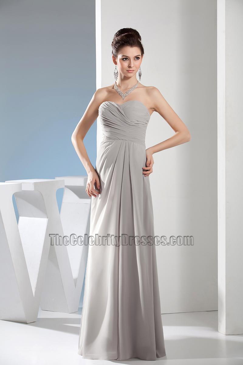 Simple Strapless Sweetheart Chiffon Bridesmaid Prom Dresses ...