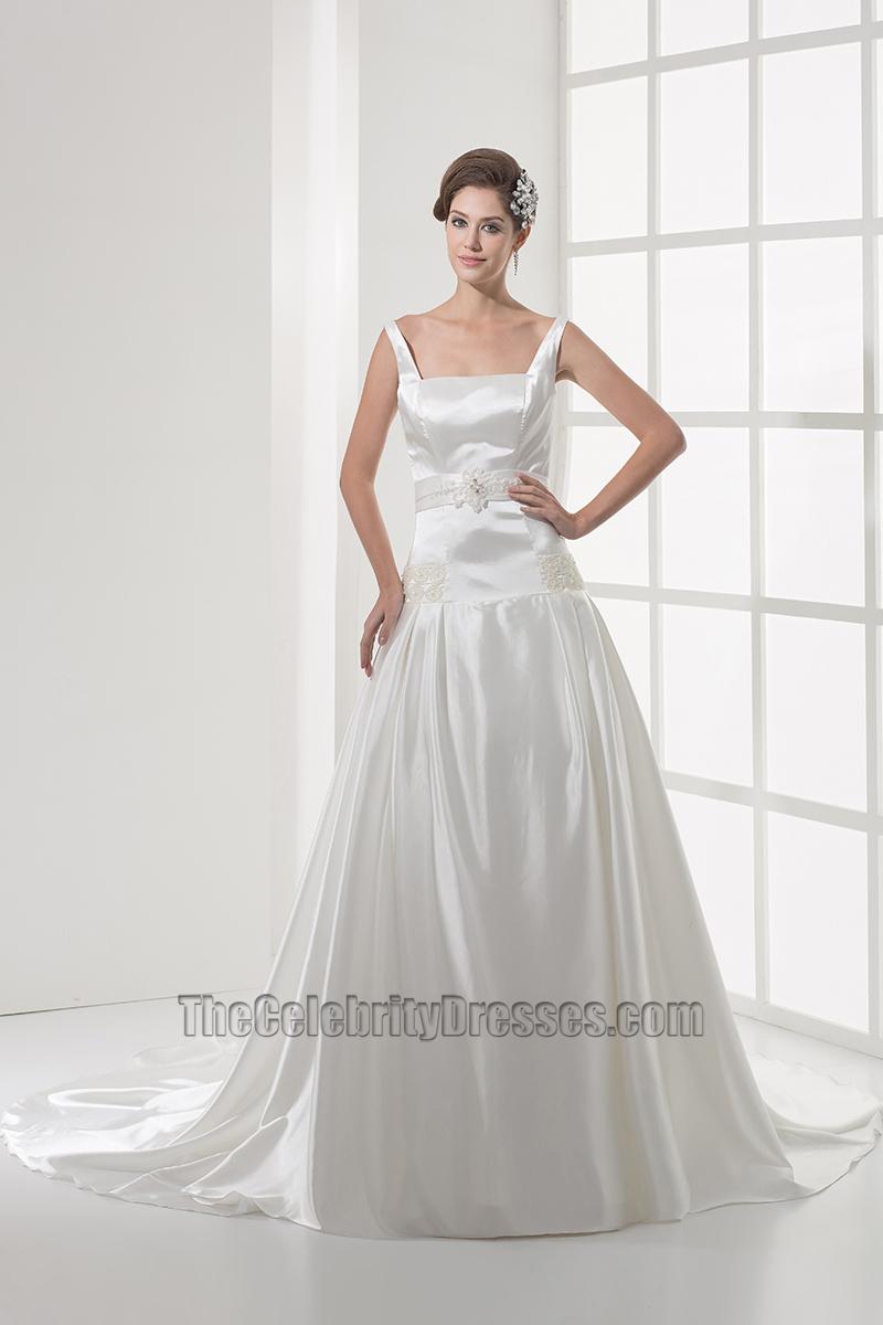 Square Neckline Silk Like Satin A-Line Wedding Dress ...