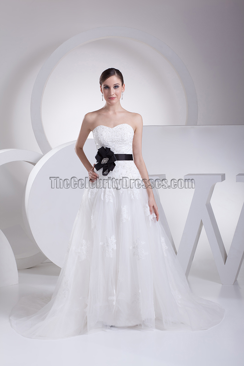 Strapless a line embroidery wedding dress with black belt for Wedding dress with black belt
