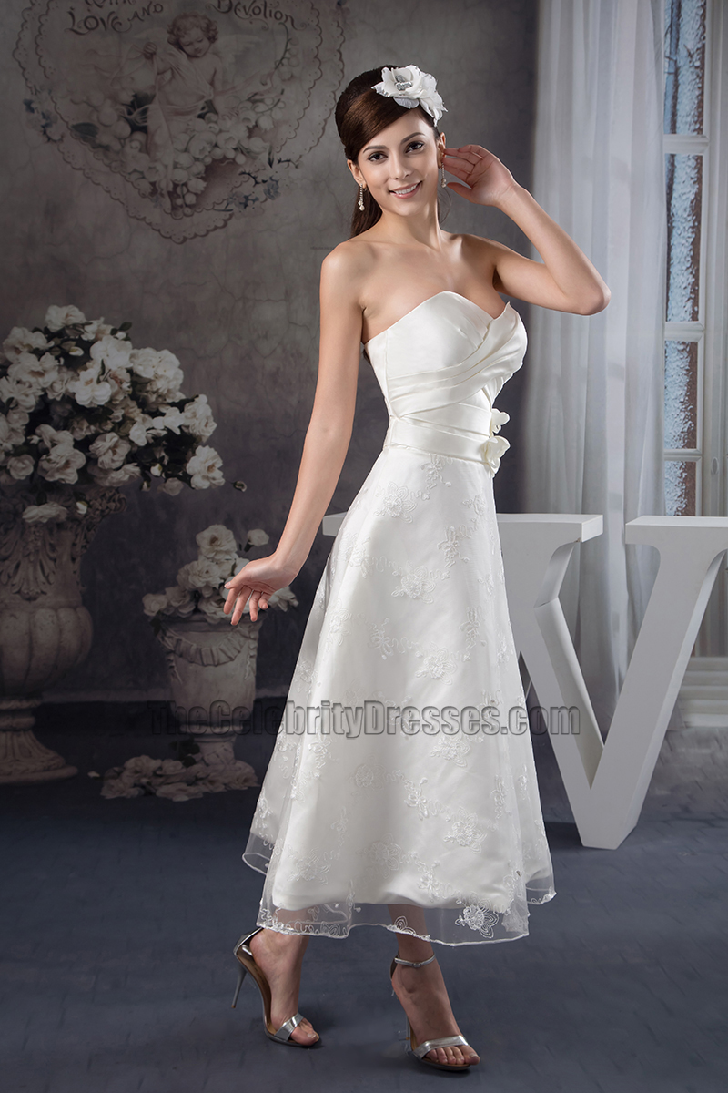 Strapless sweetheart ankle length a line wedding dresses for Ankle length wedding dresses