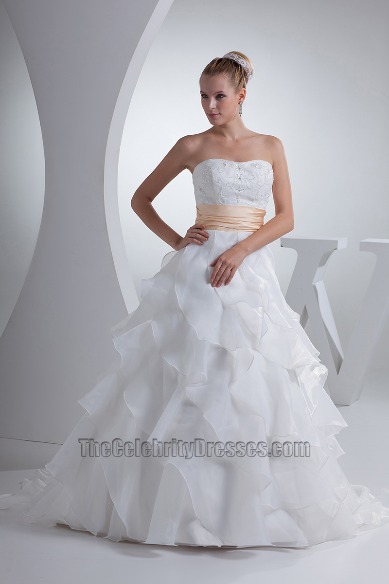 Strapless Sweetheart Lace Organza A Line Wedding Dress