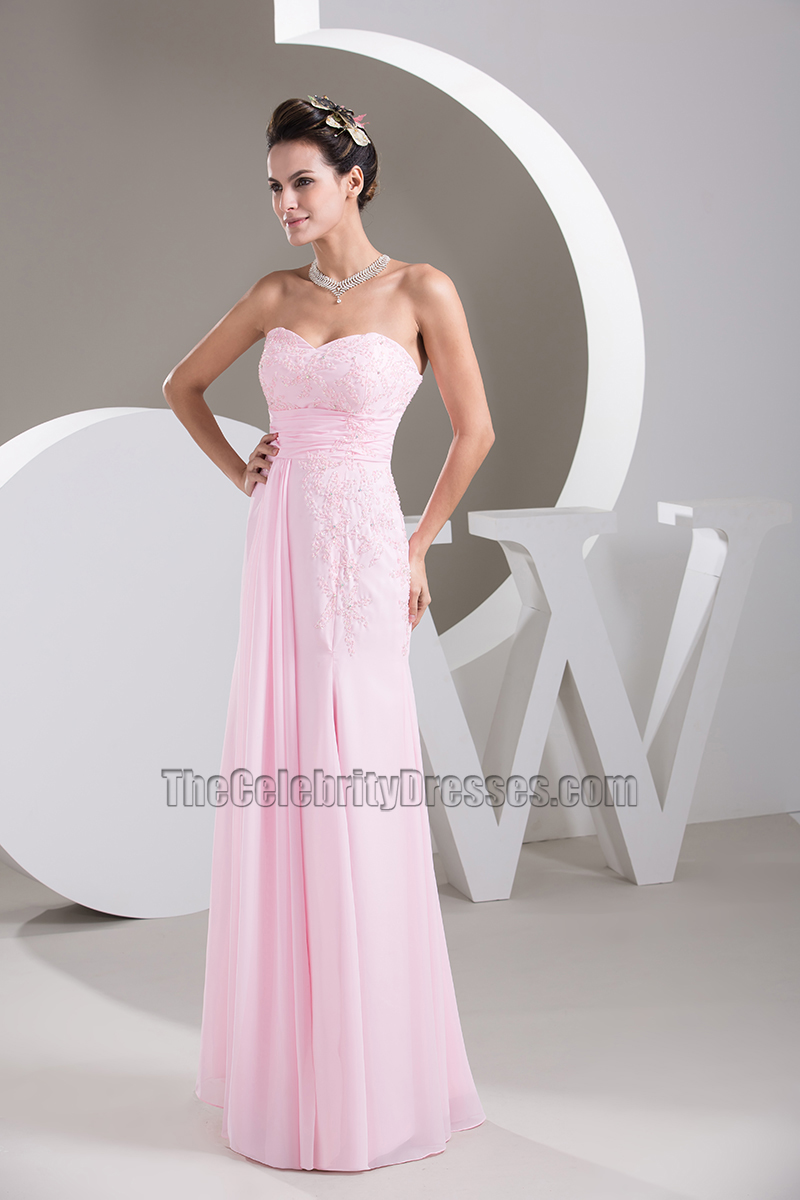 Strapless sweetheart pearl pink chiffon prom gown bridesmaid strapless sweetheart pearl pink chiffon prom gown bridesmaid dresses thecelebritydresses ombrellifo Choice Image