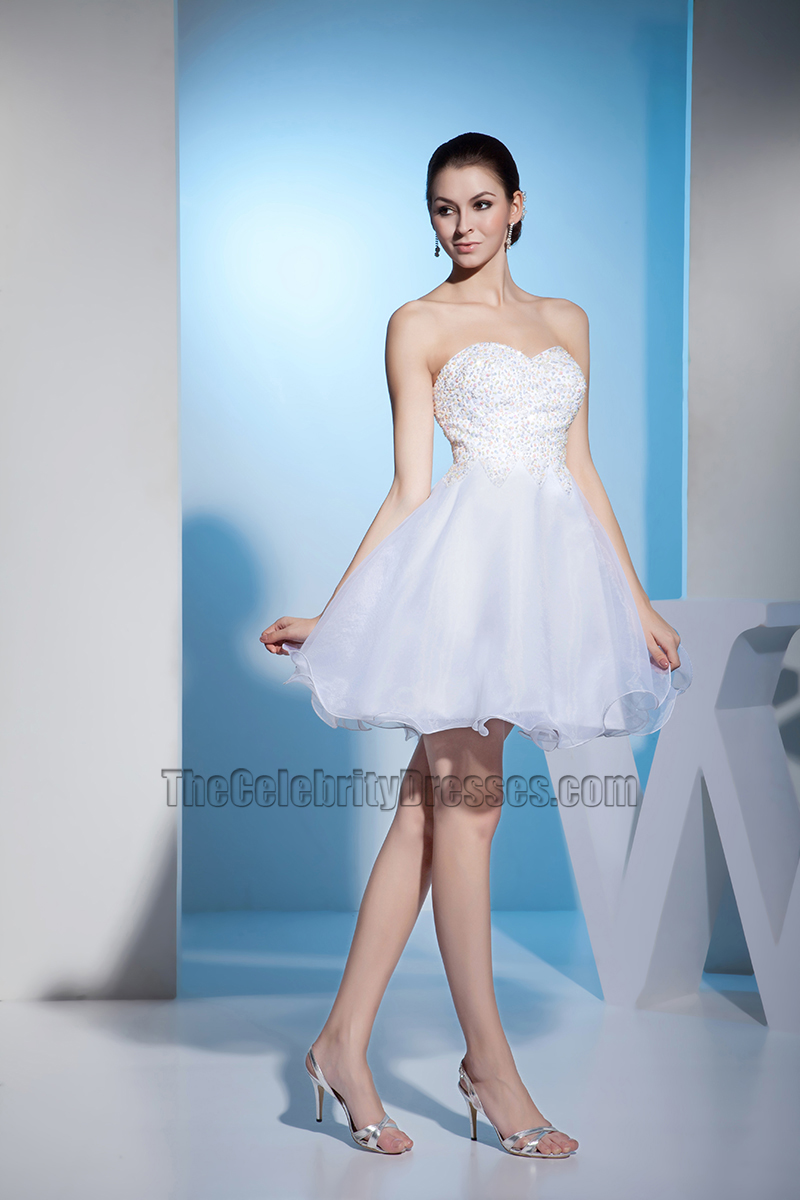 Strapless Sweetheart Short A-Line Party Wedding Dress With Beadwork ...