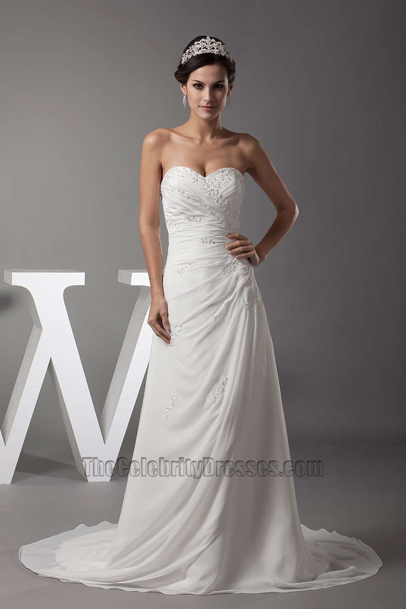 Sweetheart Strapless A-Line Chiffon Wedding Dress Bridal Gown ...