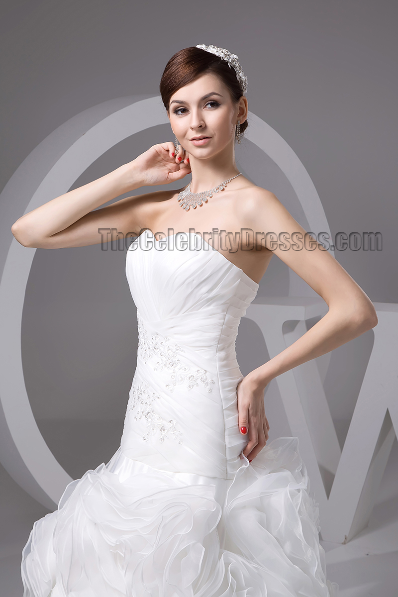 Trumpet mermaid strapless sweetheart organza wedding for Trumpet mermaid sweetheart wedding dress