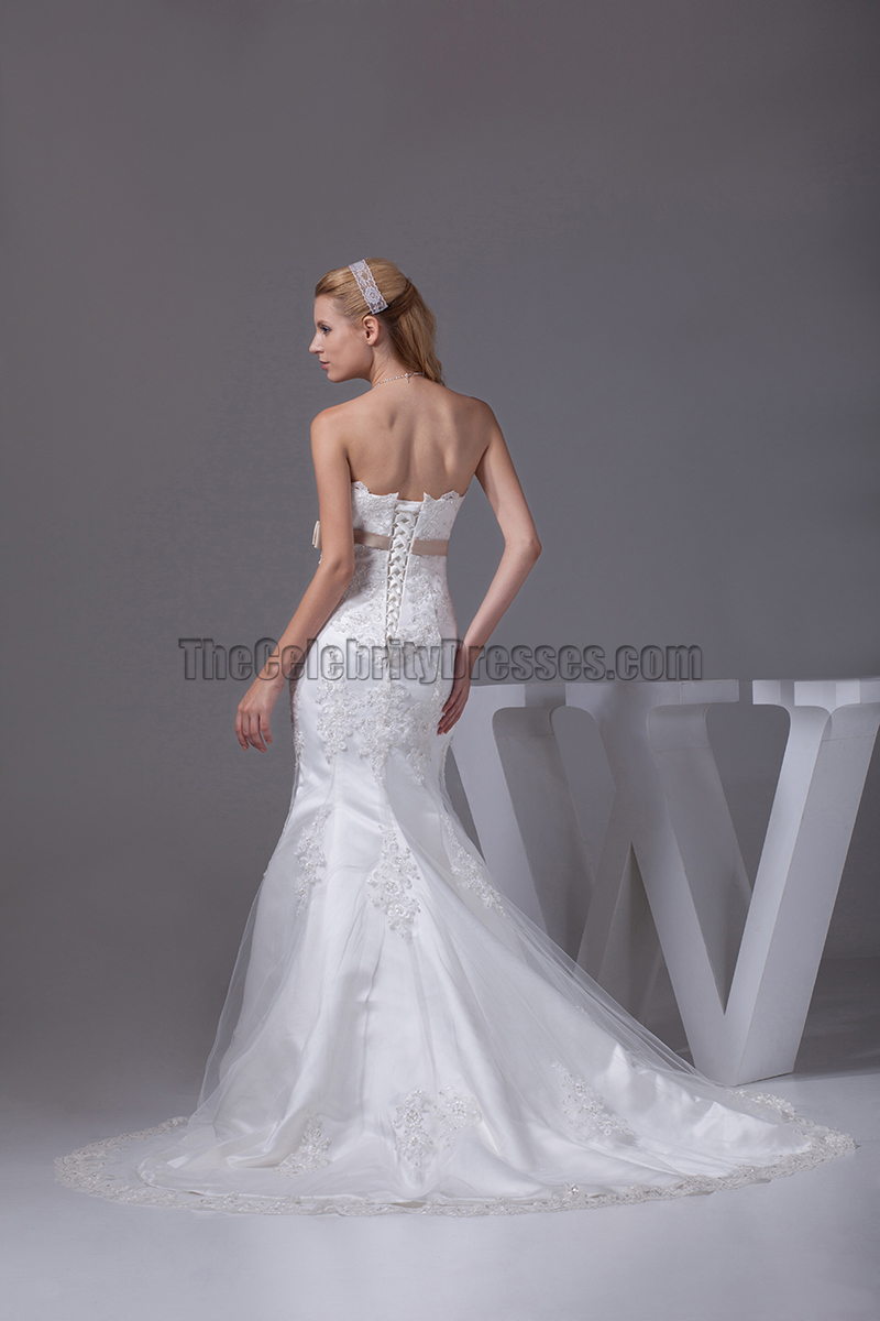 Trumpet mermaid tulle embroidery wedding dresses for Organza trumpet wedding dress
