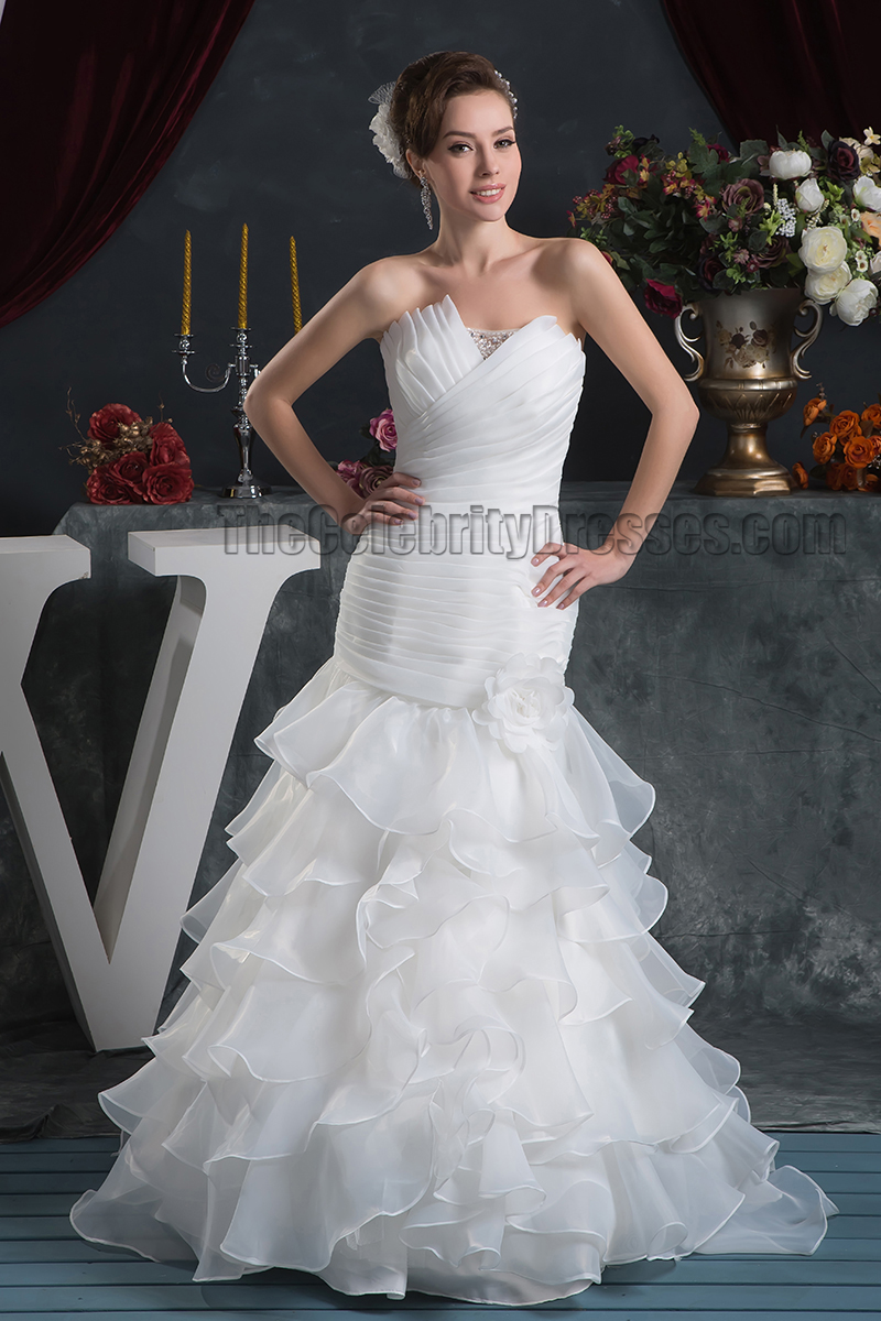Trumpet Mermaid Strapless Ruffles Lace Up Wedding Dresses