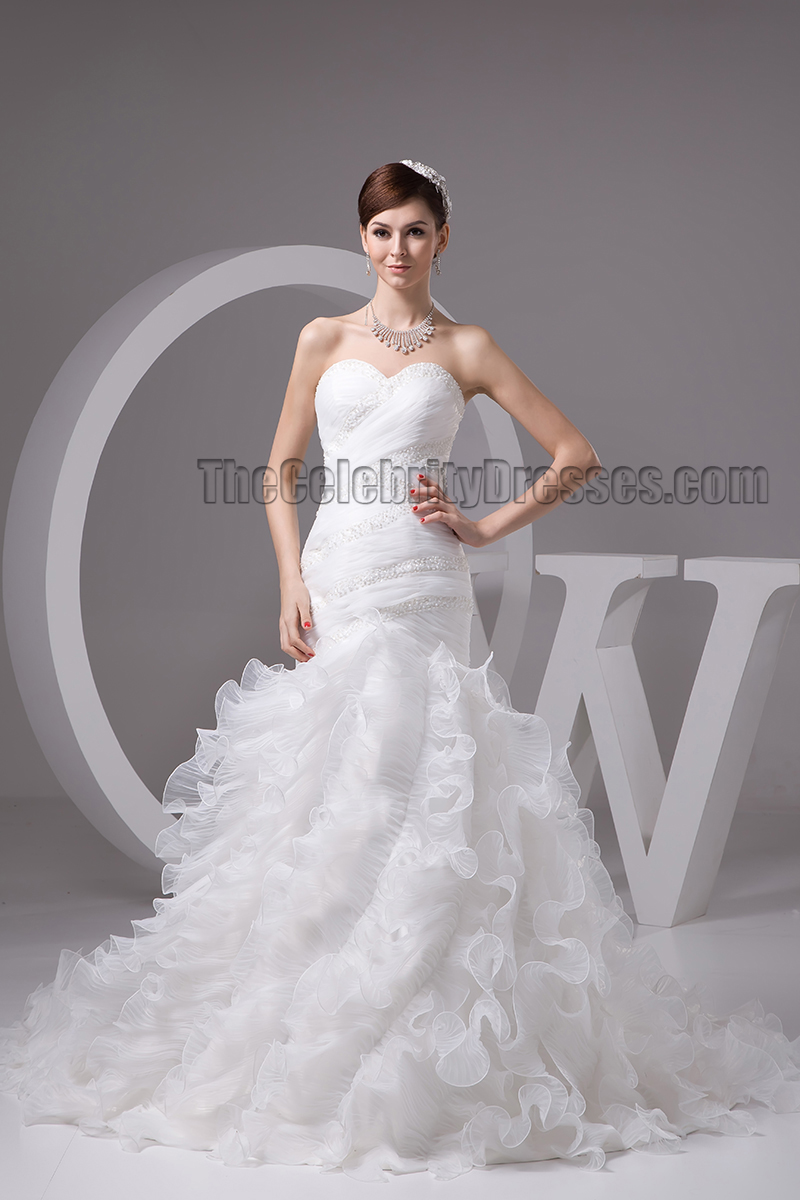 Trumpetmermaid Sweetheart Strapless Organza Lace Up Wedding Dress