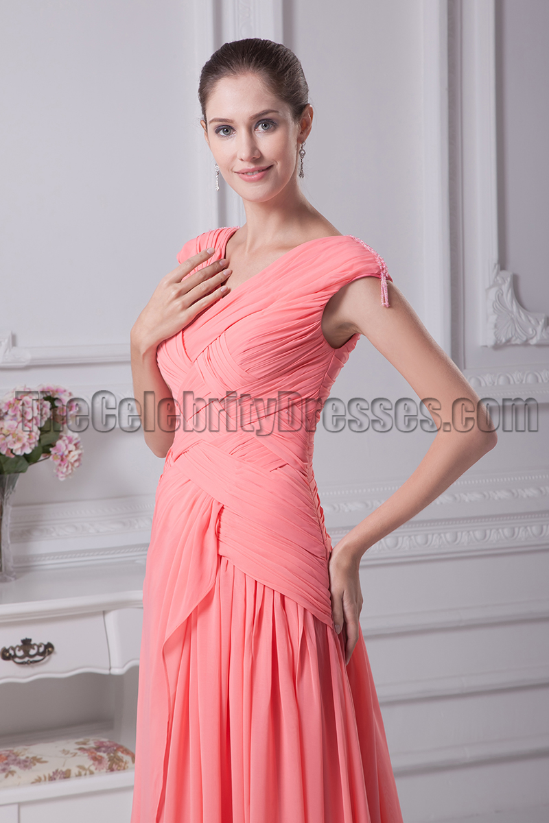 Watermelon coloured bridesmaid dresses images braidsmaid dress watermelon prom formal dresses bridesmaid gowns thecelebritydresses ombrellifo images ombrellifo Image collections