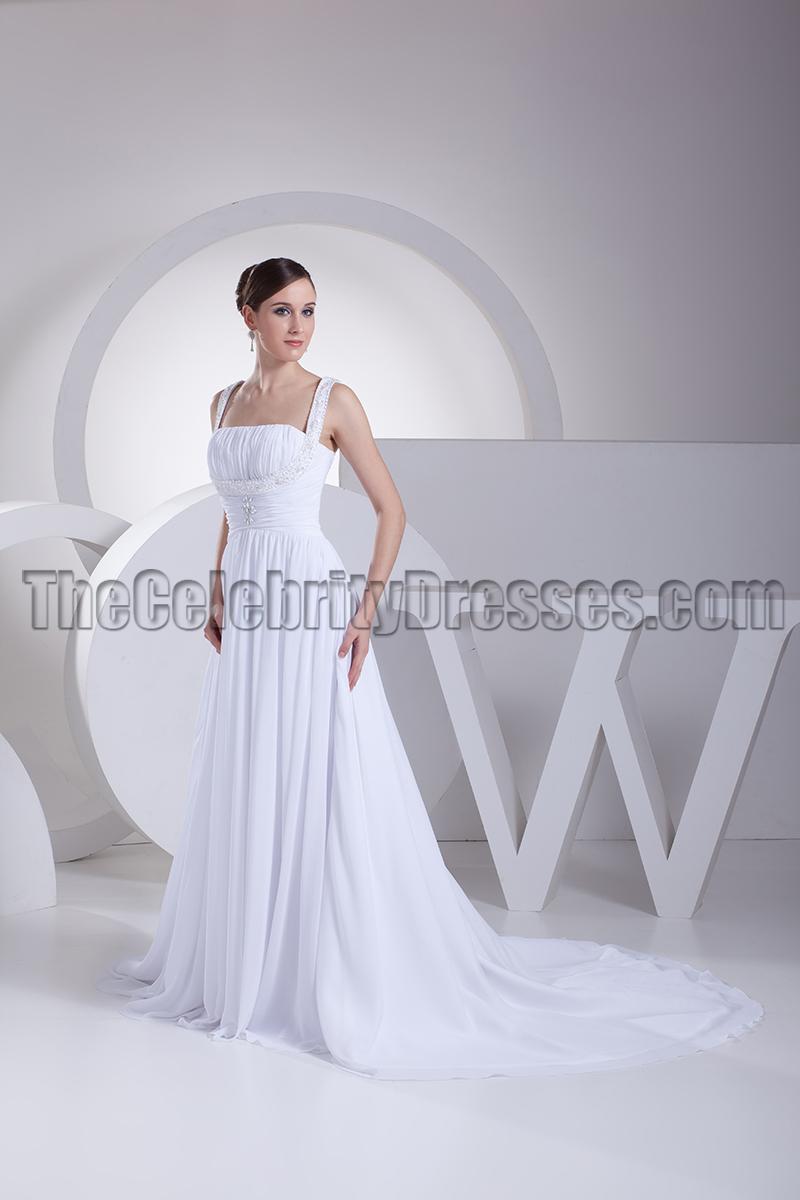 Discount White A Line Chapel Train Informal Wedding Dresses
