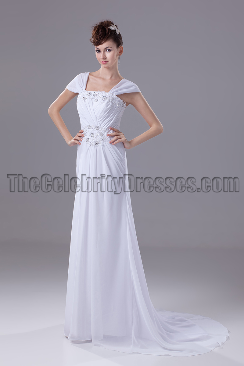 White Cap Sleeve Chiffon Prom Gown Evening Dresses - TheCelebrityDresses
