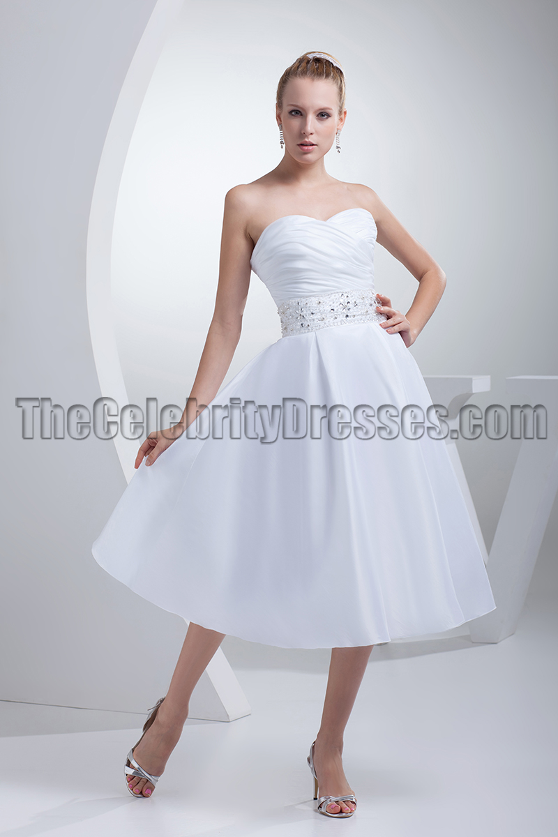 White Strapless A Line Tea Length Wedding Dresses Thecelebritydresses