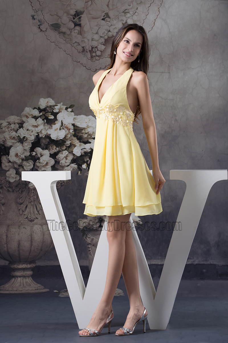 Yellow Halter Chiffon A Line Cocktail Party Graduation