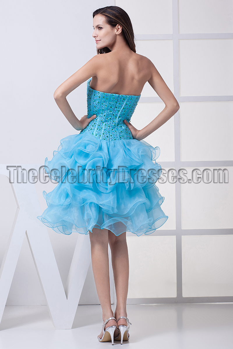 A-Line Blue Strapless Organza Homecoming Party Dresses ...