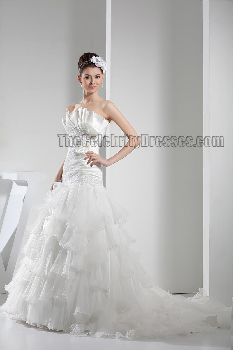 A line chapel train strapless ruffles wedding dresses for Chapel train wedding dress
