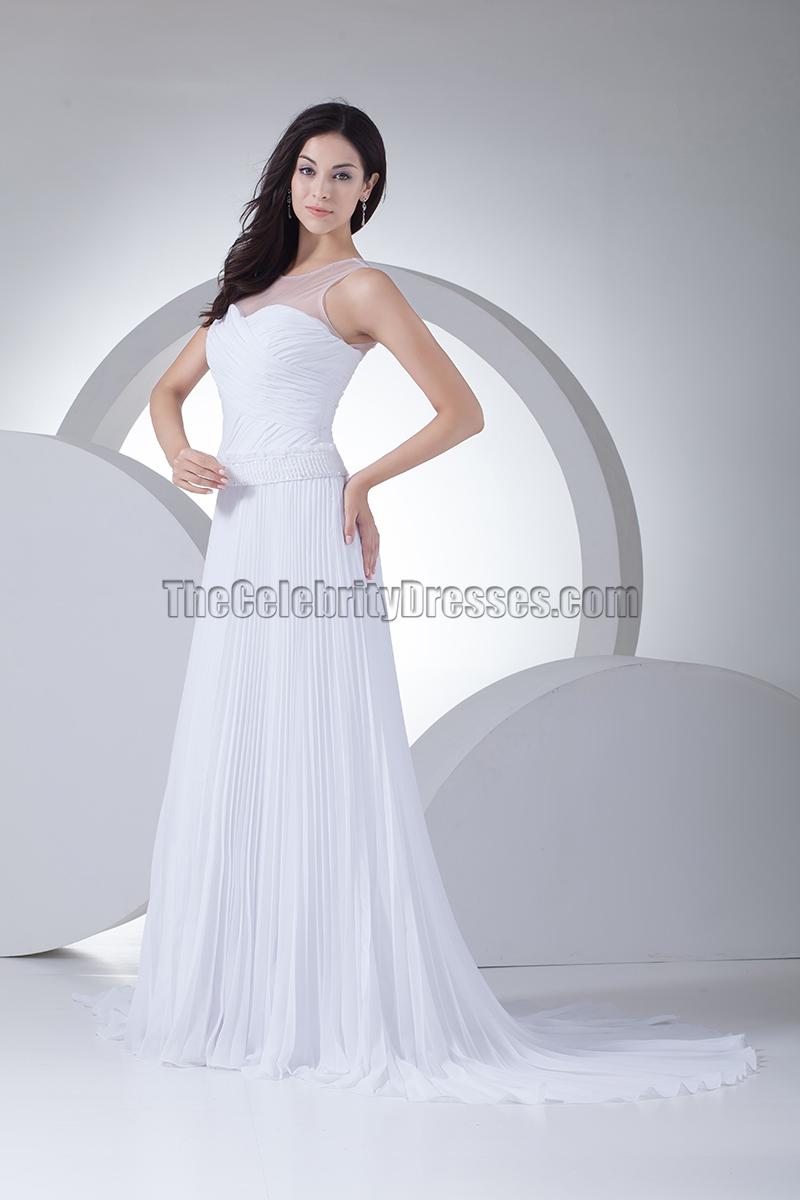 A line chiffon tulle chapel train informal wedding dresses for Chiffon tulle wedding dress