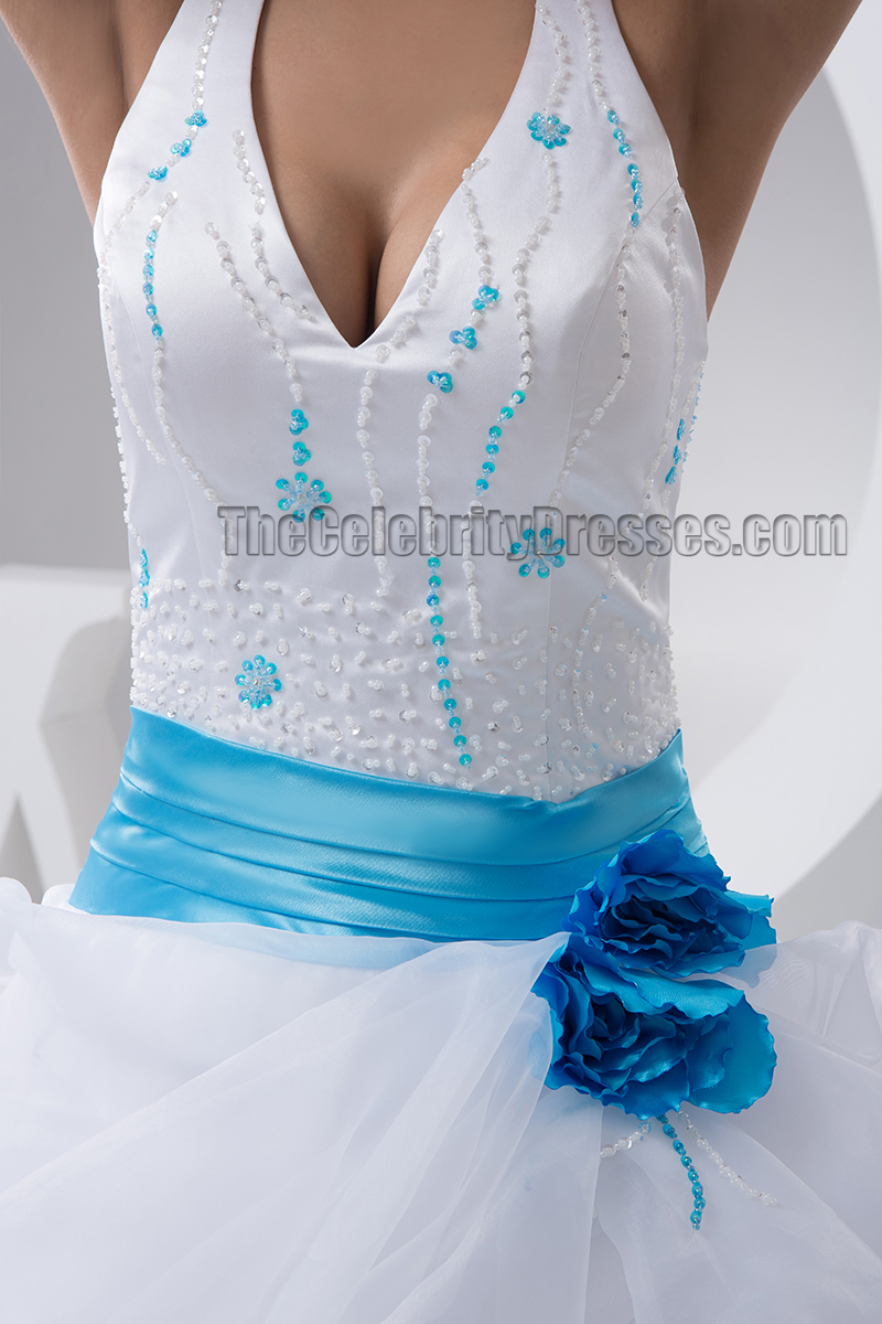 A Line Halter Beaded Floor Length Wedding Dresses With A Blue Belt    TheCelebrityDresses