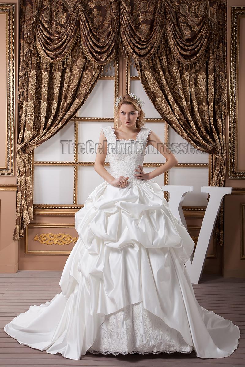 A-Line Square Neckline Beaded Embroidered Wedding Dresses ...