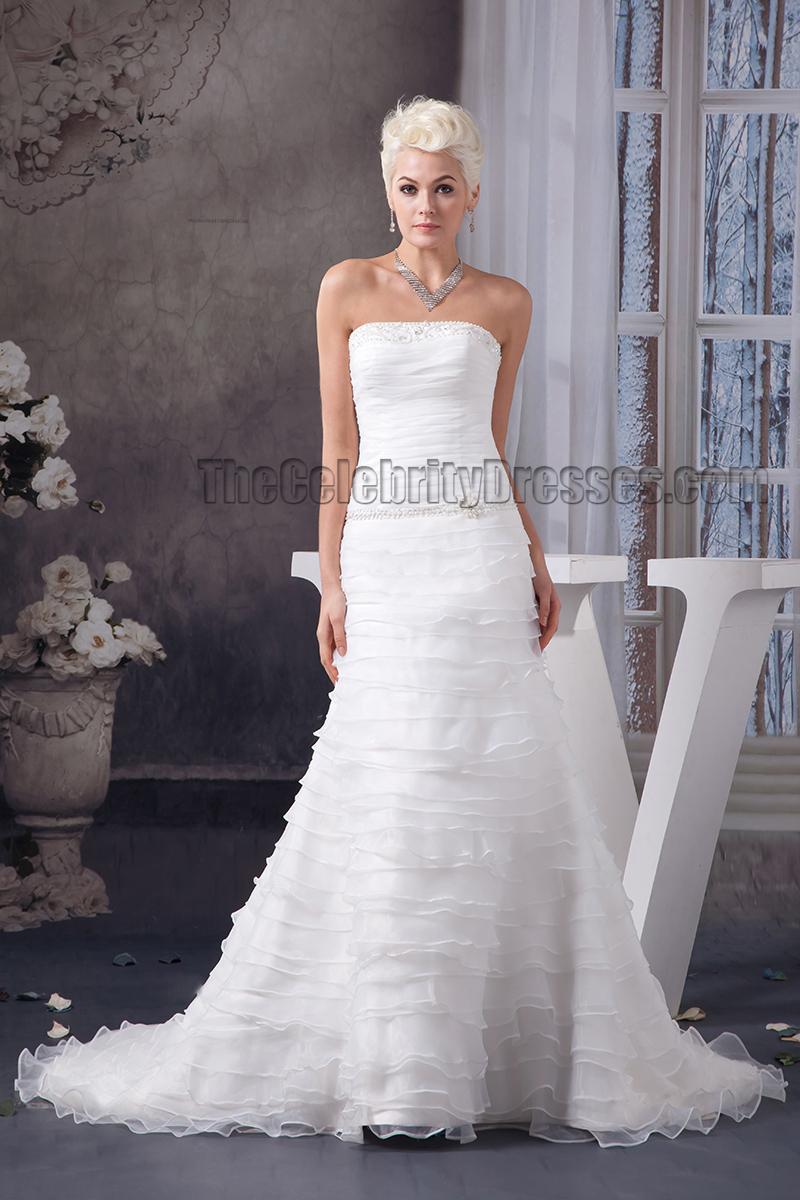 A line strapless beaded chapel train wedding dress for Chapel train wedding dress