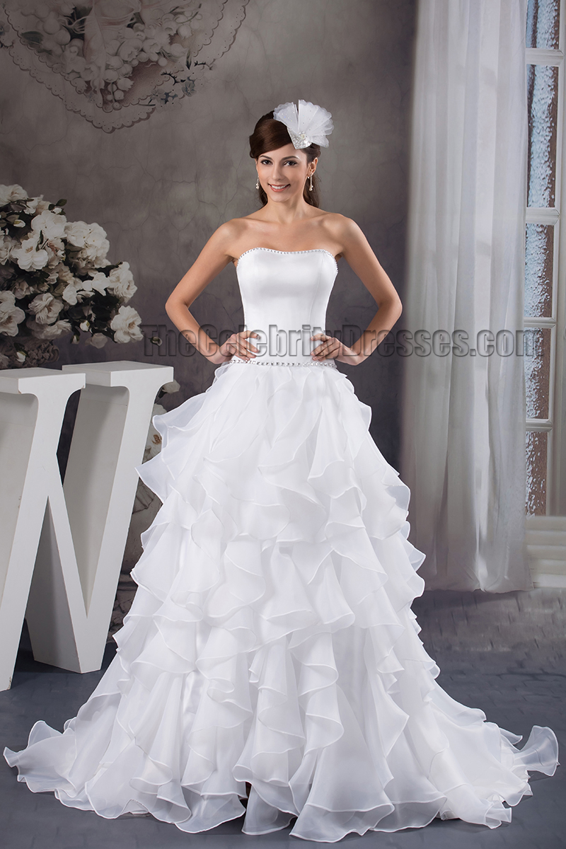 Celebrity inspired a line strapless beaded ruffles wedding for Wedding dresses with ruffles