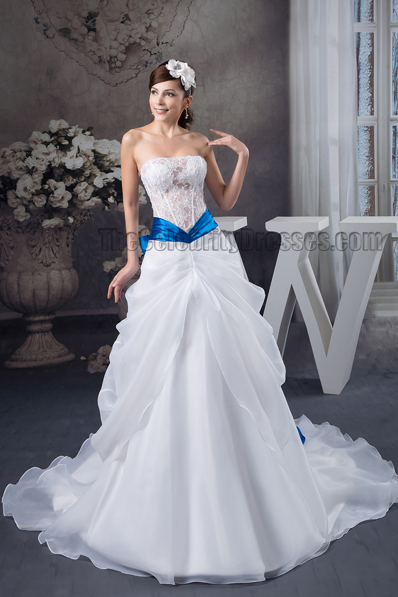 A Line Strapless See Through Lace Organza Wedding Dress