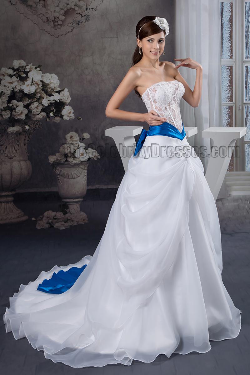 A Line Strapless See Through Lace Organza Wedding Dress    TheCelebrityDresses