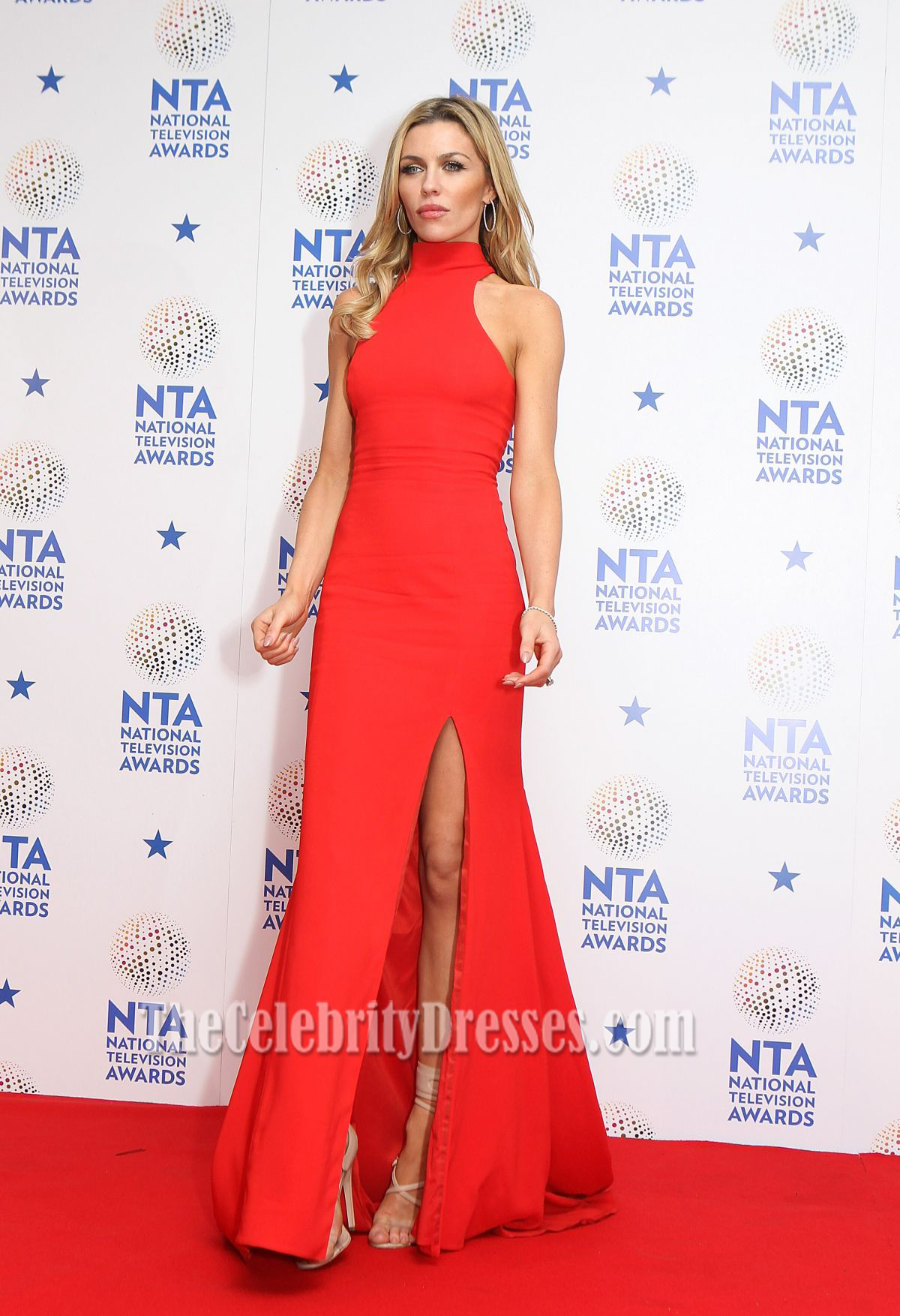 Abbey Clancy Red Prom Dress 2014 National Television Awards ...