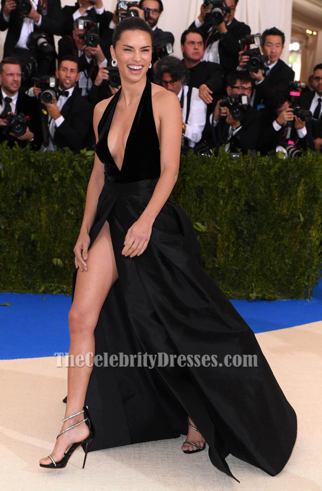 Adriana Lima traf Gala 2017 Schwarzes Halfter Abendkleid Prom Kleid ...