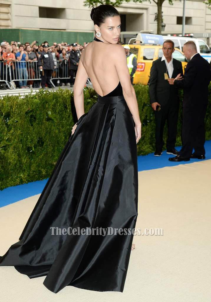 Adriana Lima met gala 2017 Black Halter Evening Dress Prom Gown ...