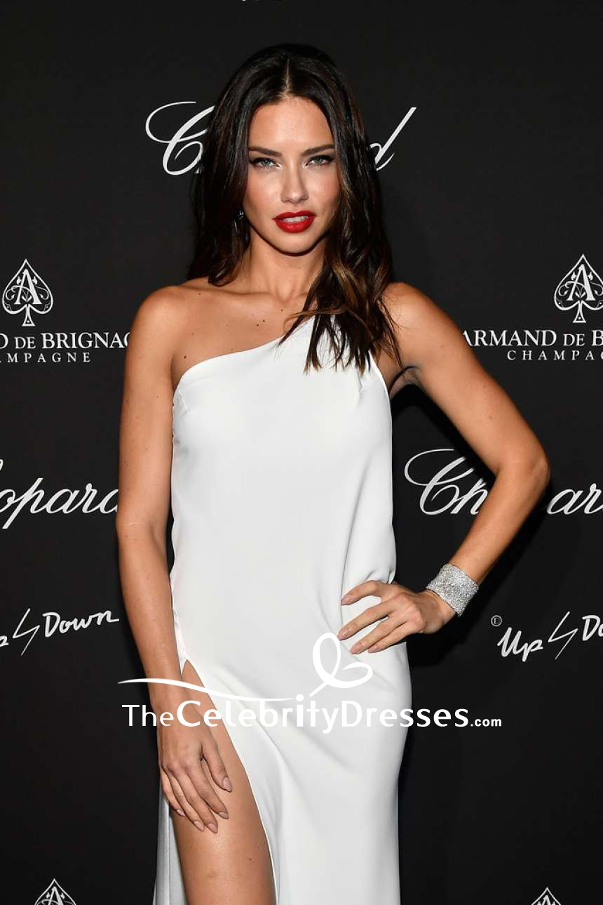 Adriana Lima White One Shoulder Thigh High Slit Evening
