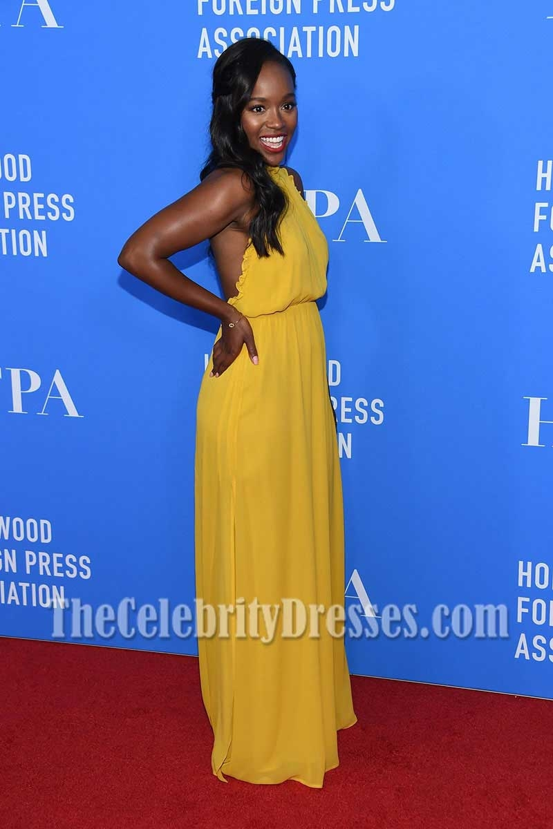Aja Naomi King Yellow Halter Chiffon Evening Maxi Dress HFPA Grants