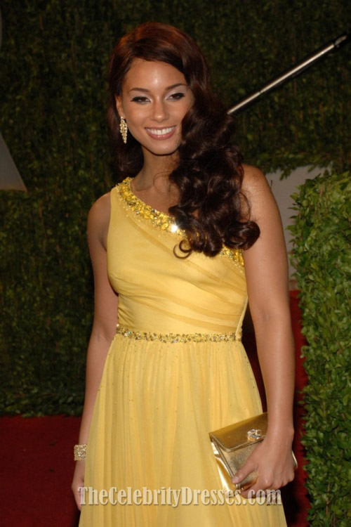 Alicia Keys Yellow One Shoulder Prom Dress Vanity Oscar